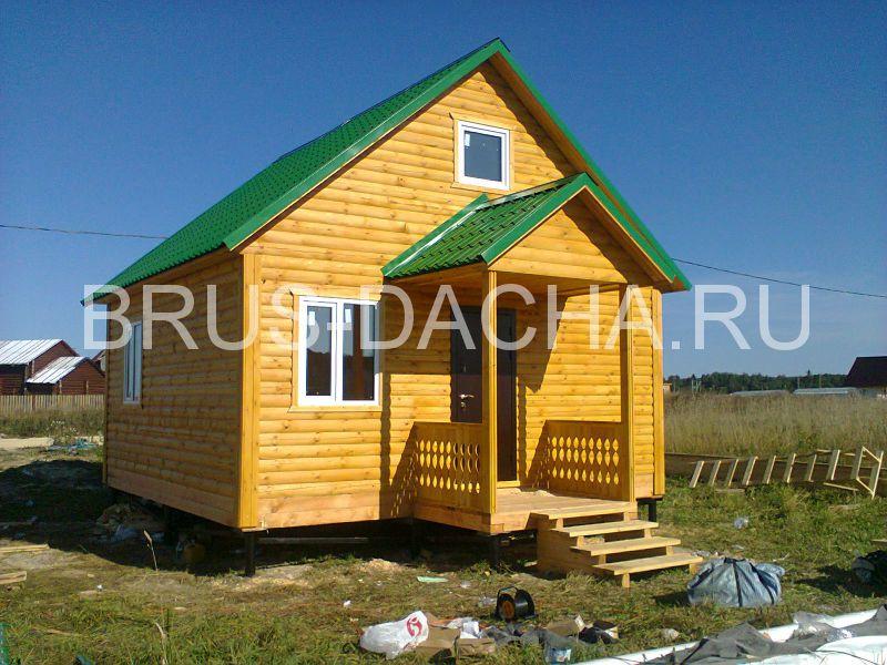 Проект С 22 Дачный дом 5х4 из бруса с террасой 5х2